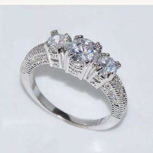Jewelry - 14k White Sapphire 925 sterling Engagement Ring